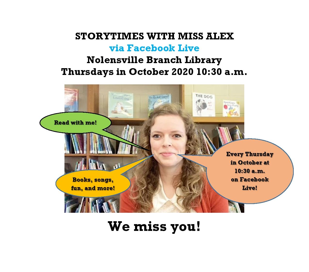 Nolensville Library Facebook Live Storytimes with Miss Alex October 2020