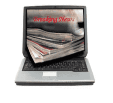 image of a computer with print pages coming out of the screen and the words Breaking News