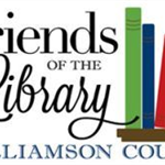 Friends of the Library Williamson County logo with books on shelf.
